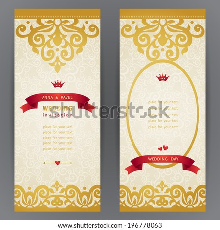 Vintage ornate cards with with hipsters label. Golden Victorian floral decor and place for your text. Template frame for greeting card and wedding invitation. Ornate vector border in east style. - stock vector