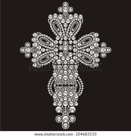 Vintage Ornate Christian Cross from brilliant stones, rhinestone applique, decoration for clothing (abstract vector art illustration) - stock vector