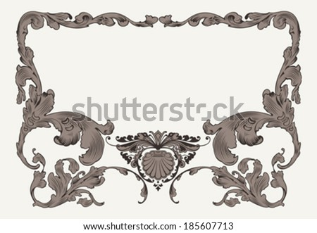 Vintage Ornate Curves Ornate Frame  - stock vector