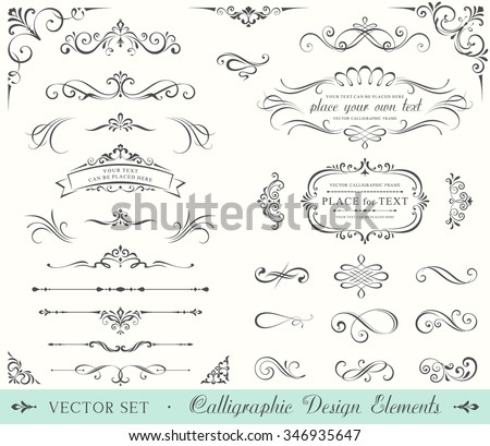 Vintage ornate frames, decorative ornaments, flourish and scroll elements. - stock vector