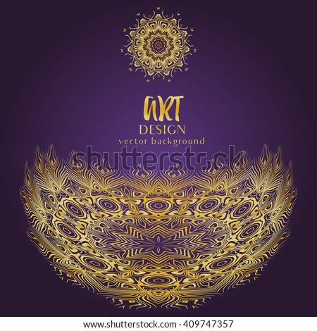 Vintage ornate vector card in oriental style. Golden eastern decorative background. Template frame for greeting card and wedding invitation. Zentangle vector element and place for your text. - stock vector