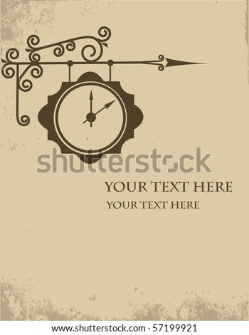 Vintage outdoor clock isolated on background, vector illustration - stock vector