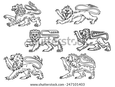 Vintage outline profiles of noble lions with raised foreleg for mascot or heraldry design - stock vector