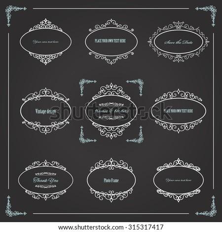 Vintage oval frames set on chalkboard. Calligraphic design elements. - stock vector