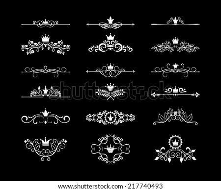 Vintage page floral design elements dividers and frames with crowns for birthday cards and wedding invitations - stock vector