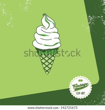 vintage page ice cream cone - stock vector