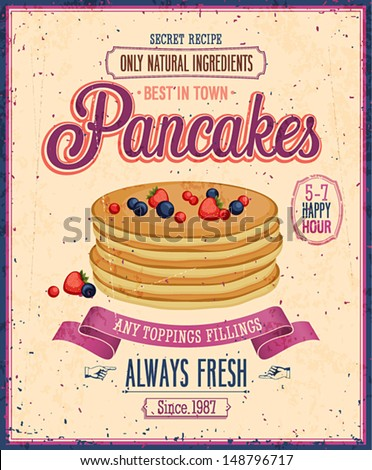Vintage Pancakes Poster. Vector illustration. - stock vector