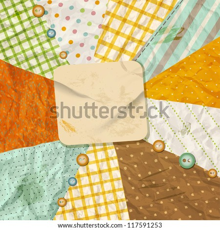 Vintage paper background. Vector template with design scrapbooking elements. - stock vector