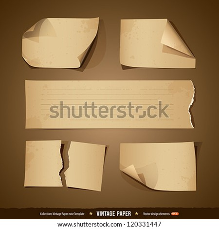 Vintage paper, collections empty template, vector illustration - stock vector