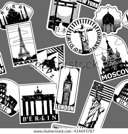 Vintage paper landmarks travel labels seamless pattern background in black and white. Travel stickers of cities: Paris, London, New York, Moscow, Berlin, Rome, Rio de Janeiro. Vector illustration. - stock vector