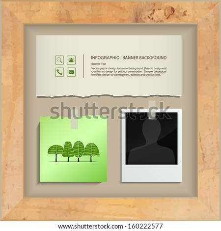Vintage paper, note paper stick and blank photo in wooden frame - Vector illustration - stock vector