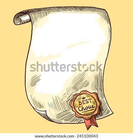 Vintage paper scroll with best choice wax seal sketch vector illustration - stock vector