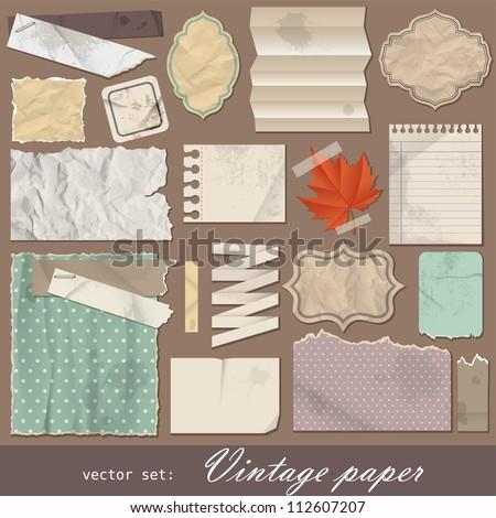 Vintage paper set. Vector illustration with design scrapbooking elements. - stock vector