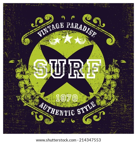 vintage paradise surf shield - stock vector