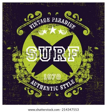 vintage paradise surf shield - stock vector