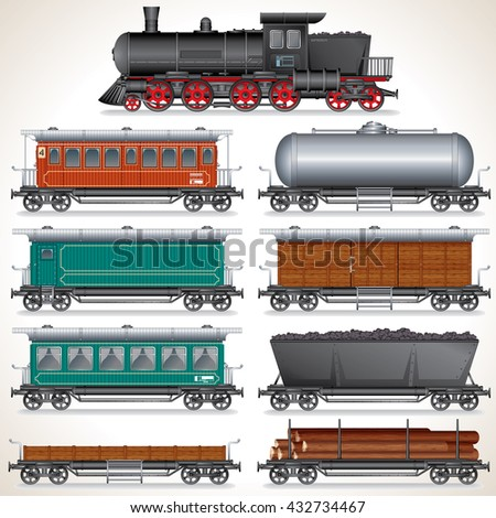 Vintage Passenger and Cargo Train. Obsolete Locomotives, Waggons, Freight Cars. Vector Collection of Detailed Icon Illustration - stock vector