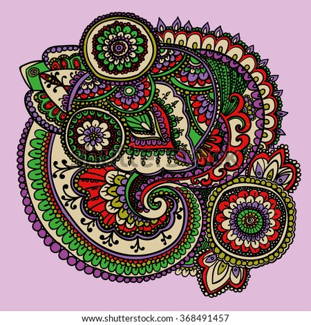 Vintage pattern based on traditional Asian elements Paisley. Bright green , purple, red . - stock vector