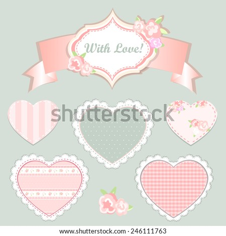 Vintage  Pattern, hearts cute seamless backgrounds. shabby chic - stock vector