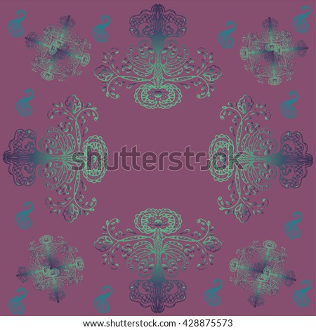 Vintage pattern, luxury purple design - stock vector