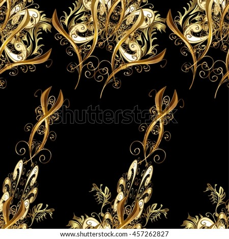 Vintage pattern on black background with golden elements. - stock vector