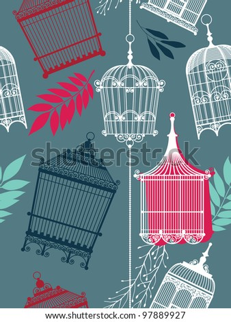 vintage pattern with birdcages and leaves - stock vector