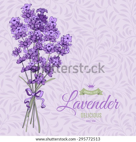 Vintage pattern with hand drawn floral bouquet of fragrant lavender in engraving style. Vector illustration. - stock vector