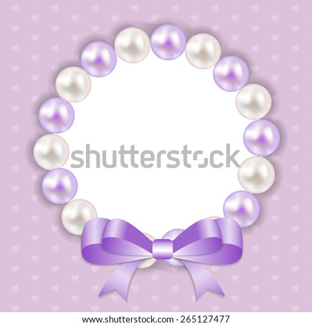 Vintage Pearl Frame with Bow  Background. Vector Illustration. EPS10 - stock vector
