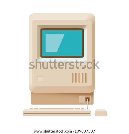 Vintage personal computer with keyboard and mouse isolated on white. Vector illustration. - stock vector