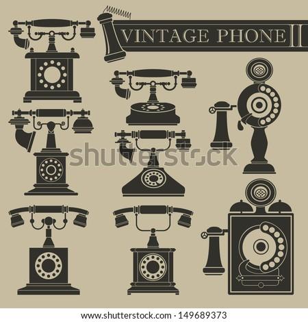 Vintage phone II - stock vector