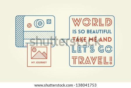 Vintage photo camera with nature photography saying World is so beautiful take me and let's go travel - stock vector