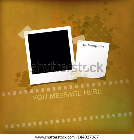 Vintage photo frame and memo paper on grunge textures backgrounds - stock vector