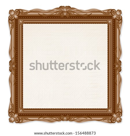 Vintage Picture Frame Isolated on White Background. Vector - stock vector