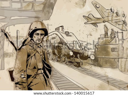 Vintage picture from the series: World between 1905-1949 /// Operation Overlord - The Western Allies - Soldier at the railway station /// A hand drawn illustration converted into vector (3 layers) - stock vector