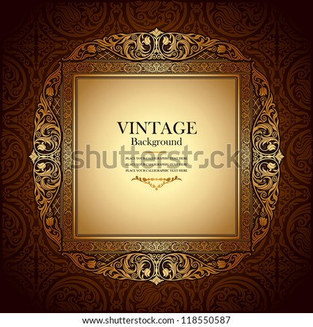 Vintage picture wall frame wall, damask background, antique, victorian ...