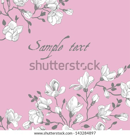 Vintage pink card with a magnolia - stock vector