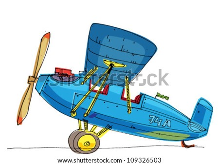 vintage plane - stock vector