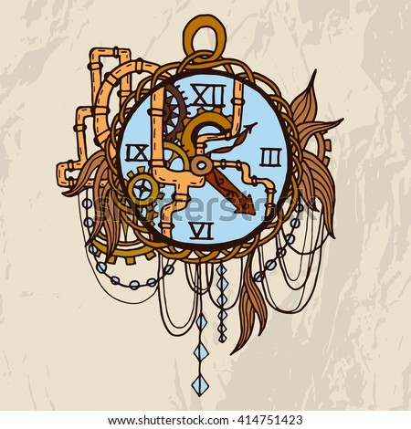 Vintage pocket watch with petails, chains, pipes, jewelry on grunge background. For tattoo, logo or print. Hand drawn watch . - stock vector