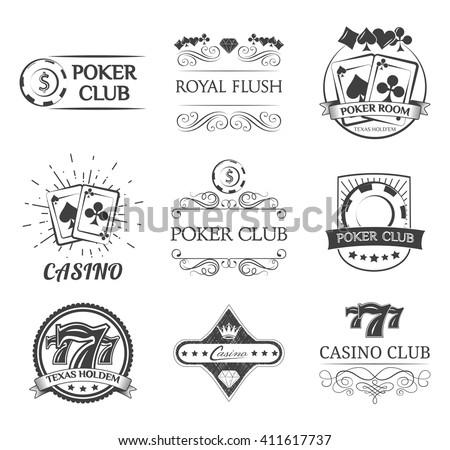 Vintage poker label. Filigree ornate frame. Casino and poker chip.Playing card. Gambling. - stock vector