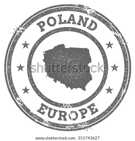 Vintage Poland stamp with continent name. Grunge rubber stamp map with Europe and Poland text, vector illustration - stock vector