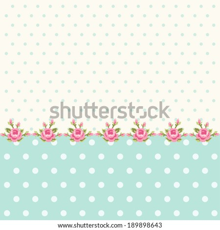 Vintage polka dots background with border of roses in shabby chic style - stock vector