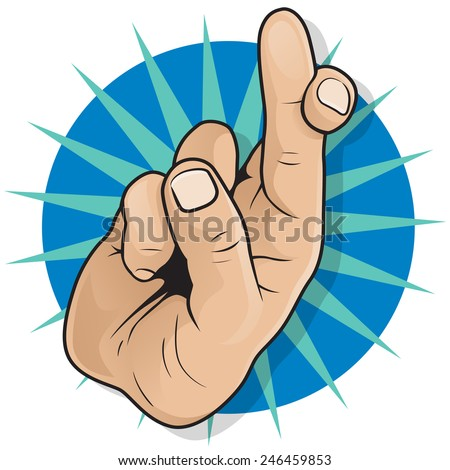 Vintage Pop Art Fingers Crossed Sign. Great illustration of Pop Art Comic Book Style Fingers Crossed Hand Sign gesturing for Good luck and Fortune.  - stock vector