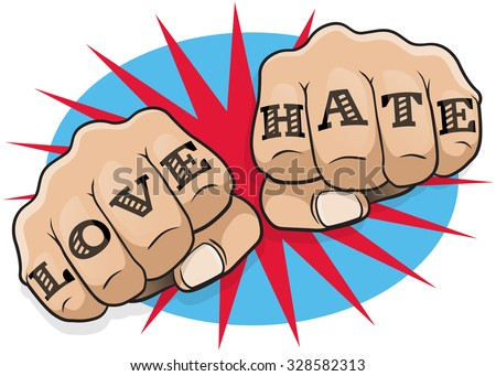 Vintage Pop Art Love and Hate Punching Fists. Great illustration of pop Art comic book style punching directly at you with the classic hooligan tattoo message. - stock vector