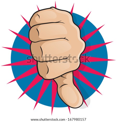 Vintage Pop Art Thumbs Down. Great illustration of Pop Art Comic Style Thumbs Up gesturing Negative Disapproval. - stock vector