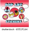 Vintage Popart Stickers, Woman Gangster - stock vector