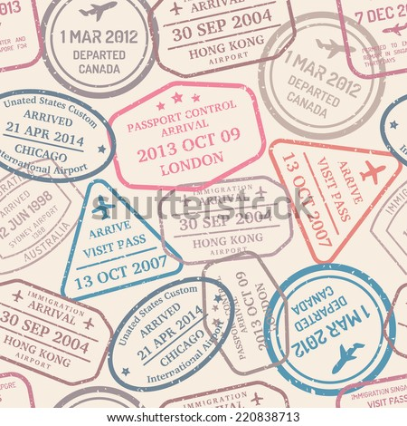 vintage postage travel seamless background with stamps - stock vector