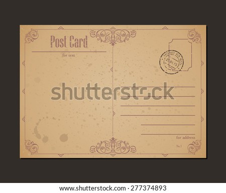 Vintage postcard and postage stamp. Design envelopes letter - stock vector