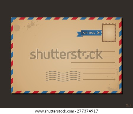 Vintage postcard and postage stamps. Design envelope pattern and letters - stock vector