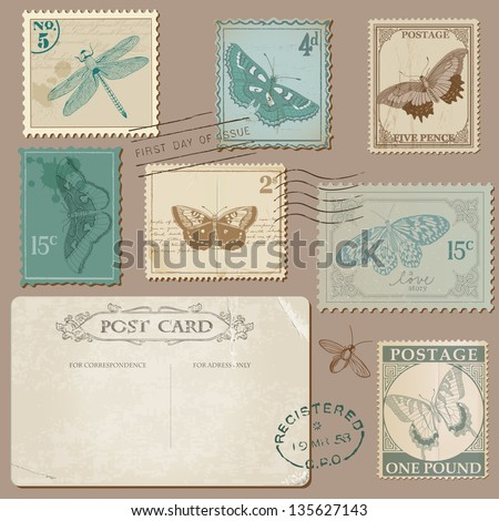Vintage Postcard and Postage Stamps with Butterflies - for wedding design, invitation, scrapbook - stock vector