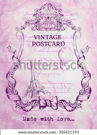 vintage postcard background pink with Paris - stock vector