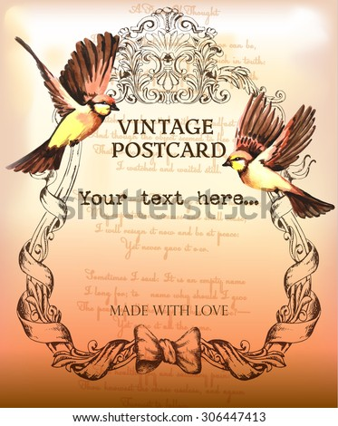 vintage postcard background with classic frame and birds - stock vector